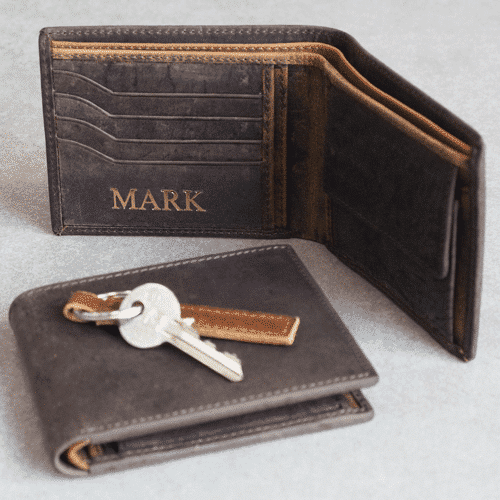 an image of a personalised handmade buffalo leather wallet
