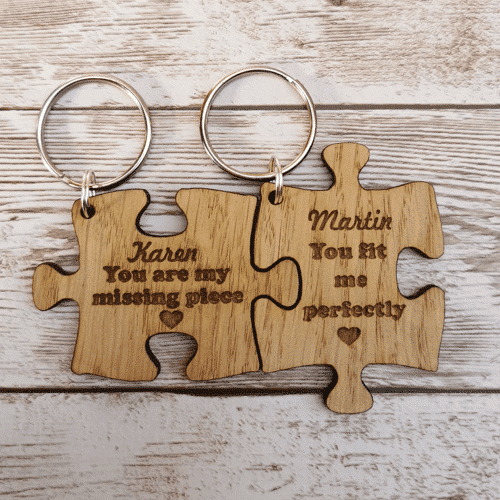 an image of a personalised keyring set for couples