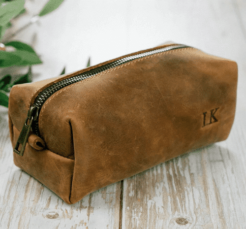 an image of a personalised leather toiletry bag