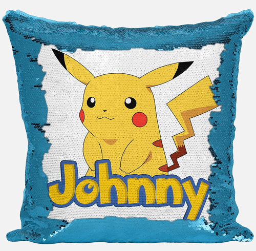 an image of a pikachu personalised sequin cushion
