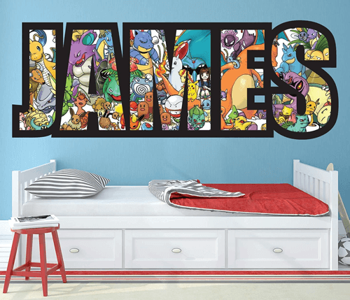 an image of a pokemon themed wall sticker for children