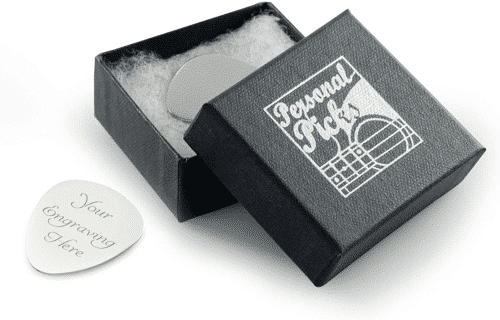 an image of a personalised silver guitar pick - one of our picks of personalised guitar gifts