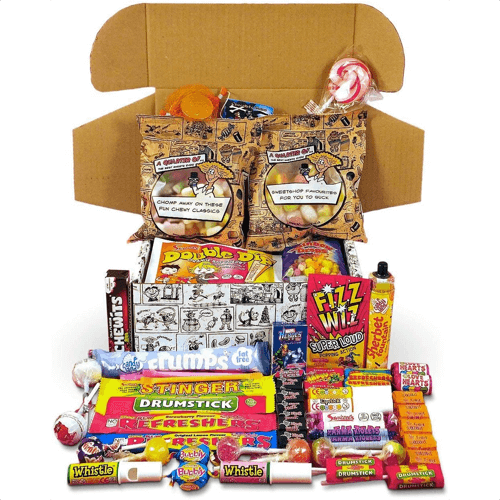 an image of a retro sweets selection box - one of our ideas of cute christmas gifts for boyfriends