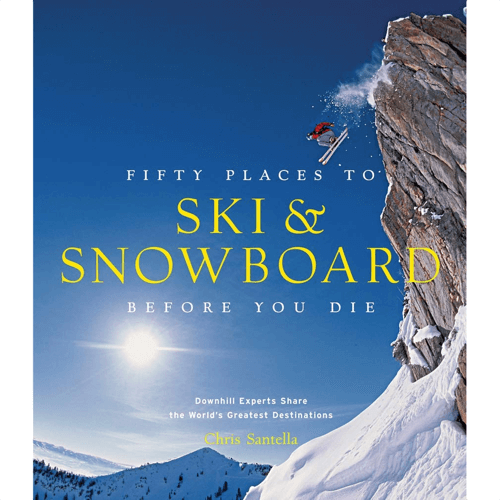an image of a book titled fifty places to ski and snowboard before you die gift idea