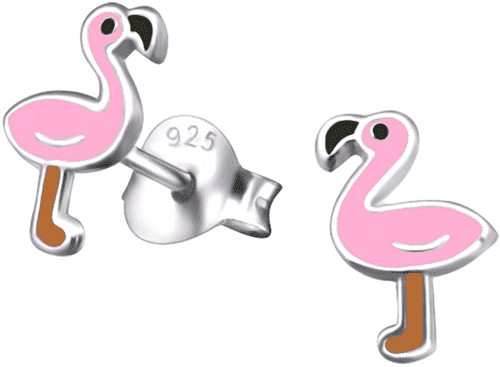 an image of sterling silver flamingo earrings