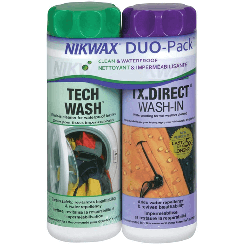 an image of tech wash cleaner and waterproofer for snowboarding clothes
