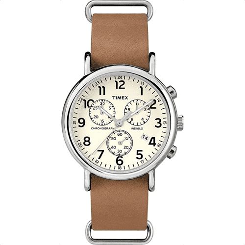 an image of a timex weekender 40mm chronograph watch for men
