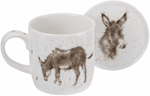 an image of a wrendale by royal worcester donkey mug and coaster gift idea