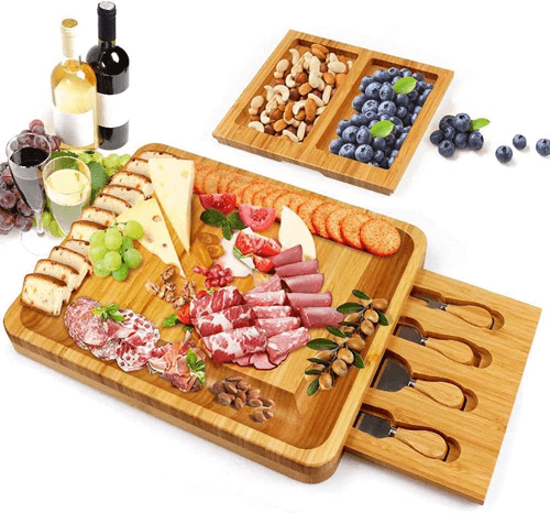 an image of a bamboo cheese board and knife set