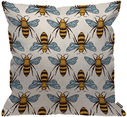an image of a bee cushion cover - one of our bee home decor gift ideas