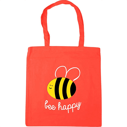 an image of a bee happy tote bag - one of our ideas for bee presents