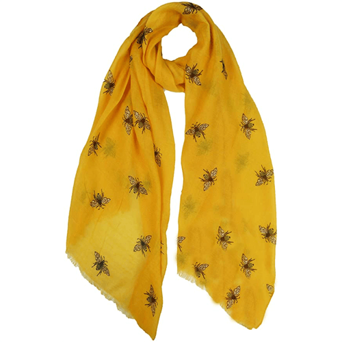 an image of a bumble bee print scarf