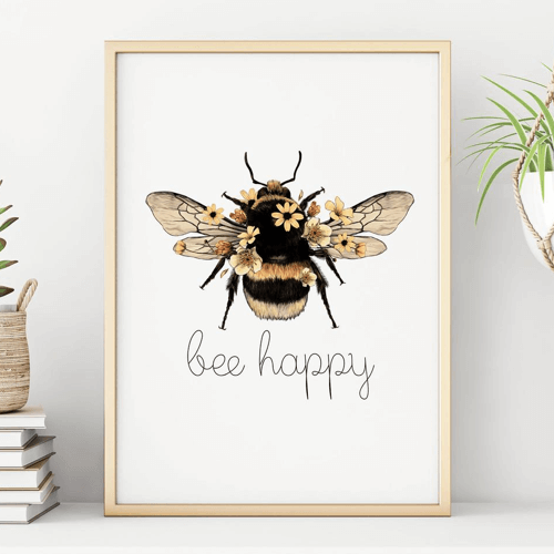 an image of a bee happy print