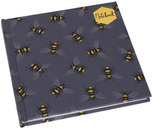 an image of a bee themed square notebook - one of our ideas of bee gifts for him or her