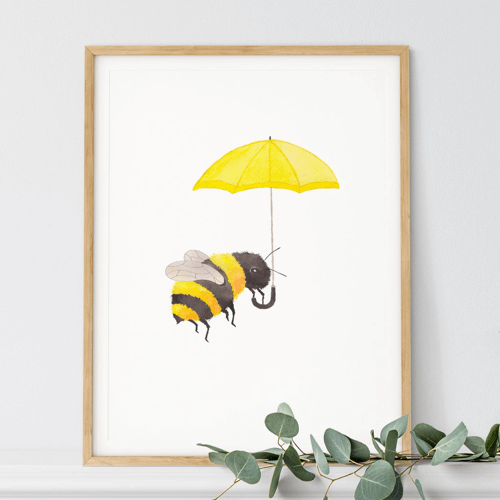 an image of a bumble bee umbrella print - one of our ideas of bumble bee gifts