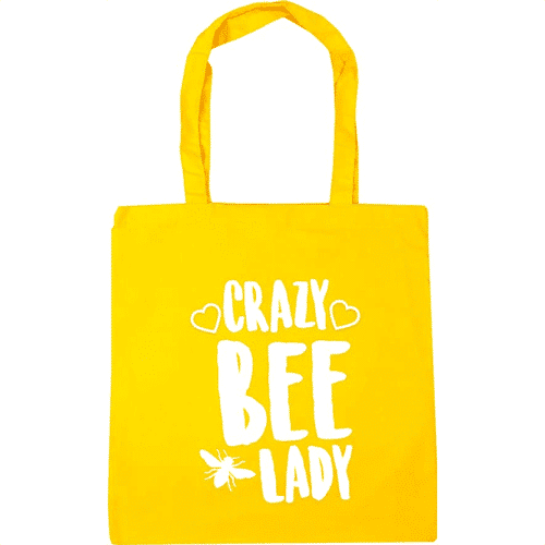 an image of a crazy bee lady tote bag merchandise gift idea