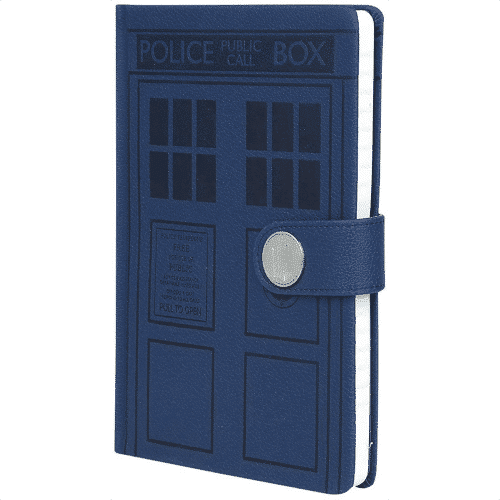 an image of a tardis themed a5 notebook