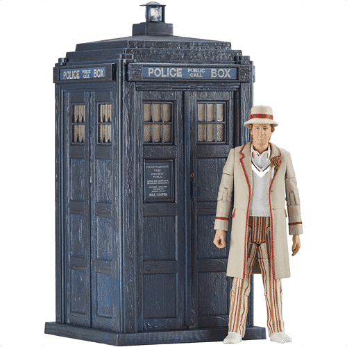 an image of the 5th doctor and tardis from the visitation classic doctor who figures