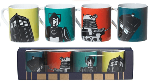 an image of a four pack doctor who mug set - one of our suggestions of dr. who collectables