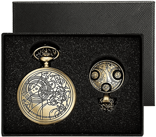 an image of a bronze doctor who theme pocket watch