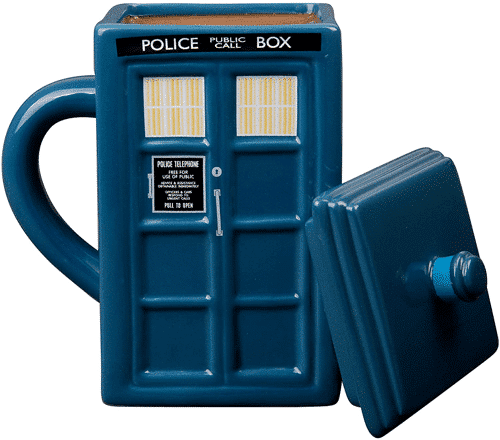 an image of a tardis mug with lid