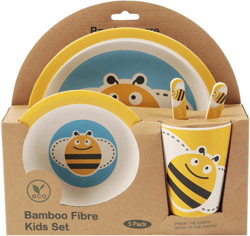 an image of a five piece bamboo dinner set for children