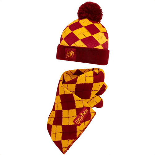 an image of a harry potter scarf and hat set for kids