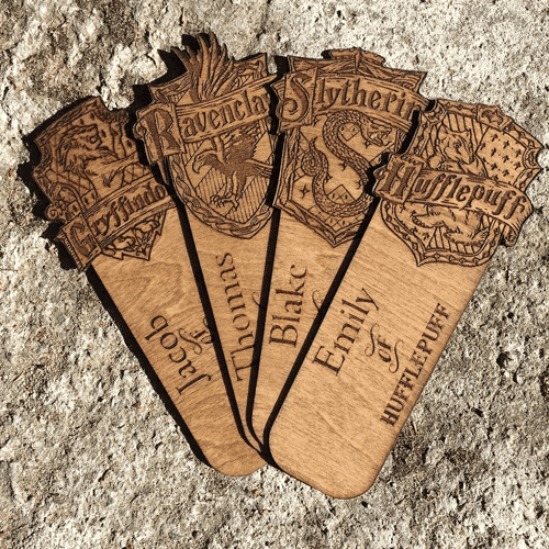 an image of a personalised harry potter inspired wooden bookmark - one of our picks of personalised harry potter gifts for kids