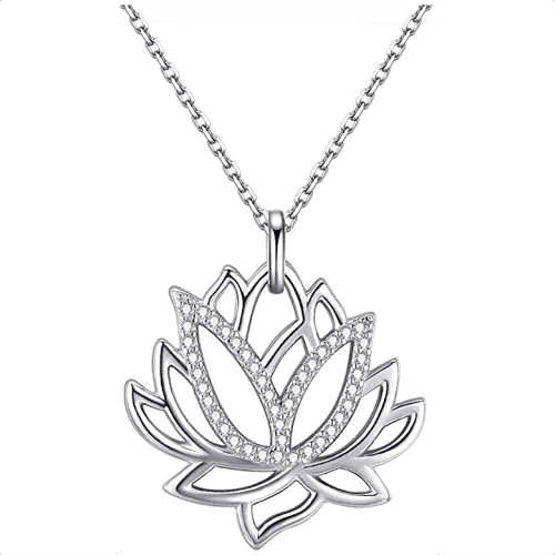 an image of a lotus flower necklace - one of our picks of unique yoga gifts