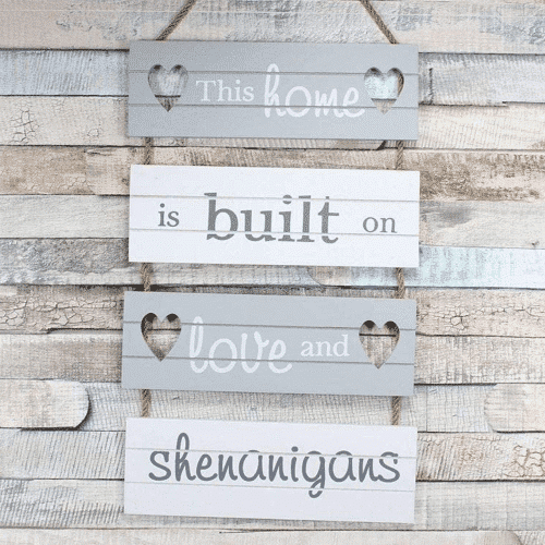 an image of a love and shenanigans hanging slatted home sign