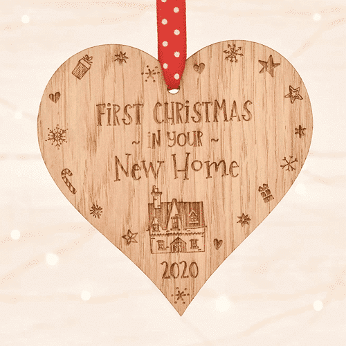 an image of a christmas decoration that says first christmas in your new home