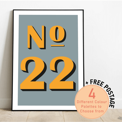 an image of a personalised house number print - one of our selection of personalised new home gifts