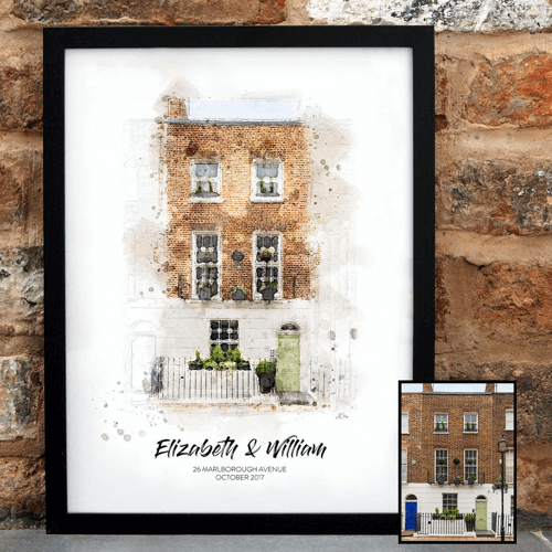 an image of a custom watercolour house portrait - one of our selection of gifts for new home