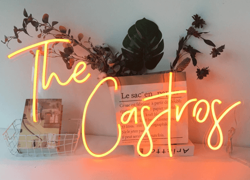an image of a neon name sign - just one of our new home gift ideas or personalised home gifts