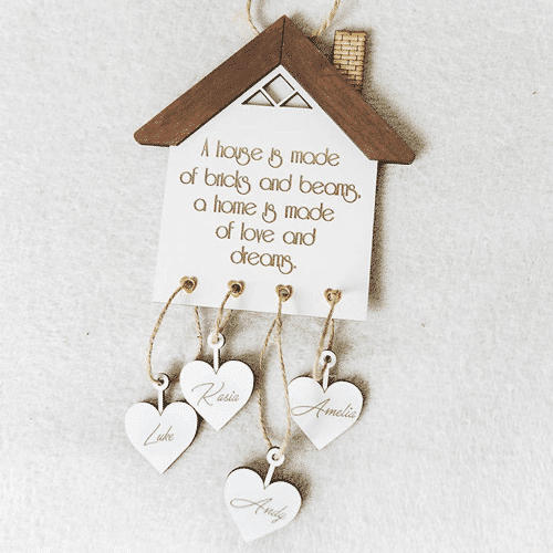 an image of a personalised new home plaque - one of our selection of personalised new home gifts