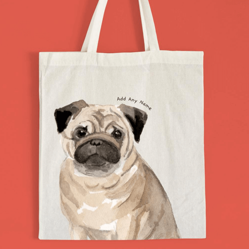 an image of a personalised pug tote bag - one of our picks of personalised pug gifts