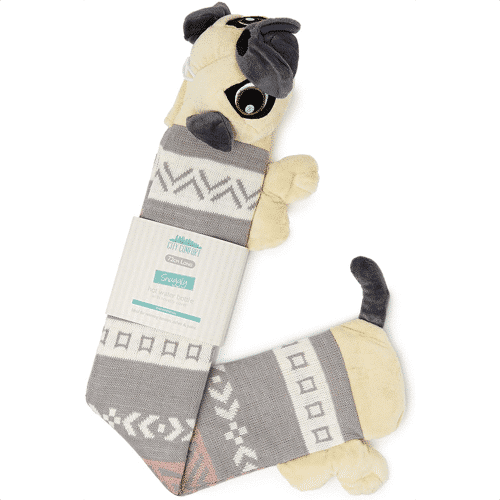 an image of a pug inspired extra long hot water bottle - one of our pug themed gifts