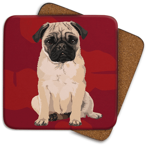 an image of a set of four dog themed coasters
