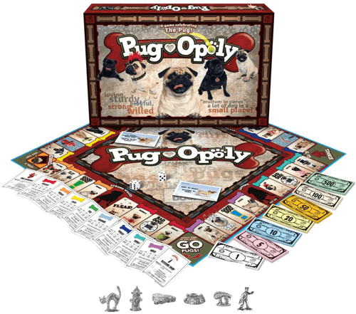 an image of a pug themed game called pug-opoly - one of our pug gift ideas