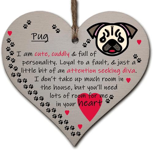 an image of a dog themed handmade wooden heart decoration