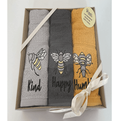 an image of a three pack of bee themed hand towels - one of our ideas for bee related gifts