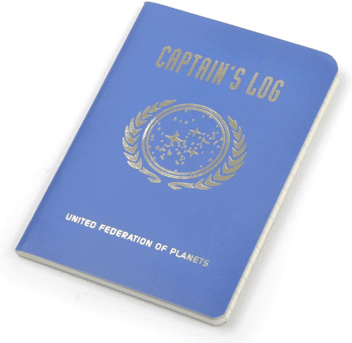 an image of a star trek captains log notebook
