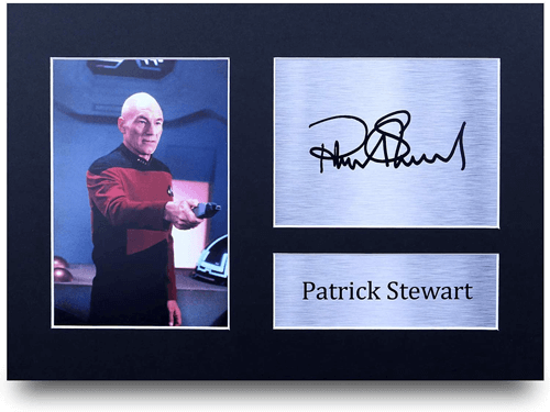 an image of a patrick stewart a4 printed autograph