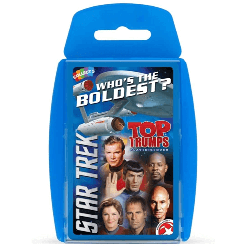 an image of a star trek edition of the top trumps card game