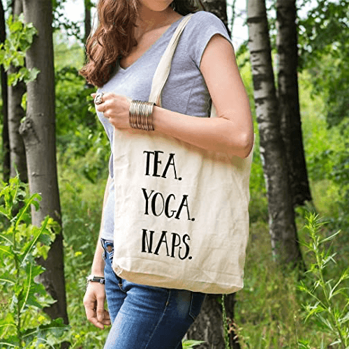 an image of a yoga inspired tote bag - one of our selections of funny yoga gifts