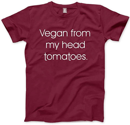 an image of a funny vegan t-shirt - one of our ideas of funny vegan gifts