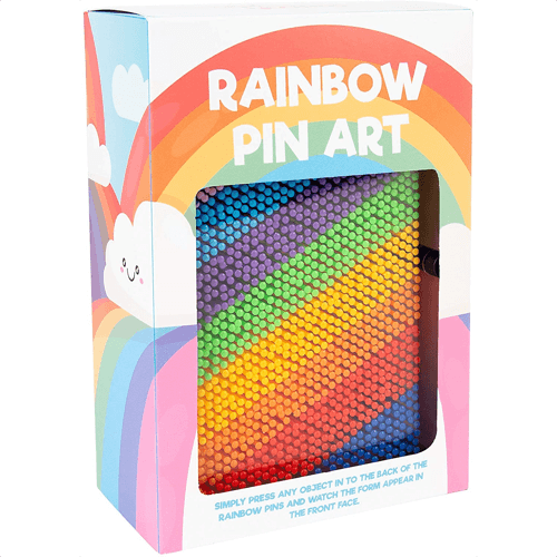 an image of a rainbow pin art gadget gift idea - one of our ideas of unique rainbow gifts for kids or adults