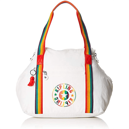 an image of a rainbow inspired satchel - one of our picks of rainbow gifts for her