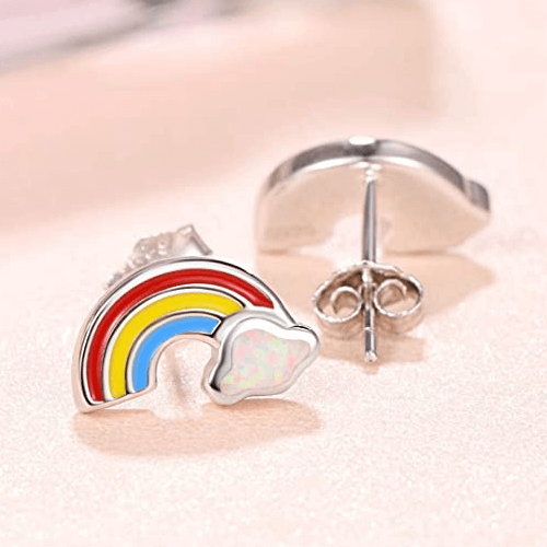 an image of sterling silver rainbow earrings - one of our picks of rainbow gifts for women or girls