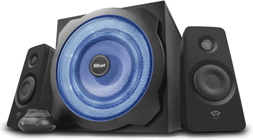 an image of the Trust GXT 628 Tytan 2.1 LED speaker set, one of our suggestions for 40th birthday gifts for men